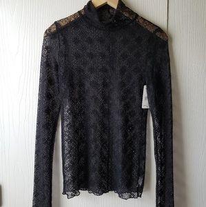 Free People Crochet Lace Sheer Shirt